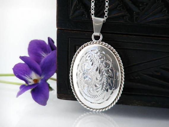 Vintage Sterling Silver Locket | Engraved Oval Locket | Rope Twist Border | 1970s English Silver | Wedding Locket Necklace - 20 inch Chain
