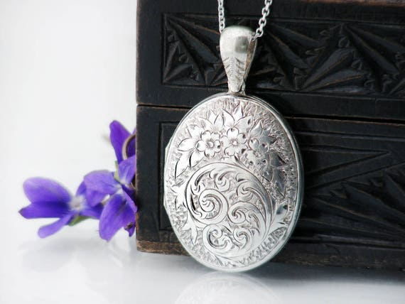 Victorian Locket | Sterling Silver 'Front & Back' Locket | Large Oval Antique Locket | Hand Chased Acanthus Leaves - 30 Inch Sterling Chain