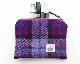 Small tartan makeup bag, HARRIS TWEED, purple and burgundy, cosmetic pouch, small wool pouch