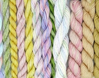 White, Silk, yellow, needlepoint threads, fibers, silk fibers, embroidery threads, thread assortment, pink, hand dyed thread, holiday craft