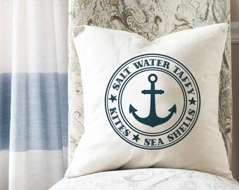 Coastal Throw Pillows, Anchor Pillow, Nautical Decor, Coastal Decor, Nautical Living Room Decor, Square Pillow Cover, Coastal Decor Beach