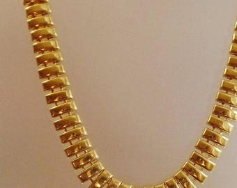SALE Vintage Gold Egyptian Necklace. Egyptian Revival. Chunky Gold Choker.