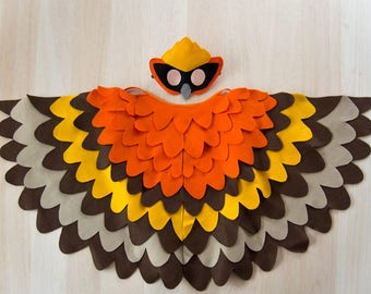 Bright and Bold Bird Costume, Kids Bird Wings and Mask Halloween Carnival Dress up Toy, Girls and Boys, Toddlers