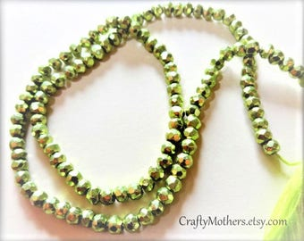 "Take 15% off with 15OFF20, LIME Green Metallic Pyrite Faceted Rondelles, 3.5mm, 1/4 strand (3.25"" long), olive chartreuse"