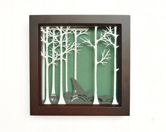 Shadowbox art, papercutting art, papercut, papercutting designs, shadow box, shadow box art, wall decor, shadowbox, paper cuts, forest, wolf