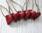 Salt Dough Ornaments / Red Heart / Set of 6 / Rustic Red Hearts / Guest Favors / Valentine Heart / Heart Ornament