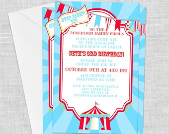 PRINTED Big Top Circus Invitation, 5 x 7, Carnival Invitation, Birthday Invitation, School Carnival Invitation, Customized w/ Your Wording