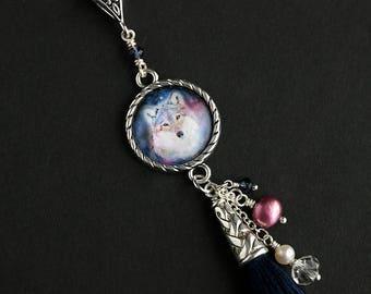 Spirit Wolf Tassel Necklace. Wolf Necklace. Navy Blue Necklace. Wildlife Necklace. Blue Tassel Necklace. Silver Necklace. Handmade Necklace.