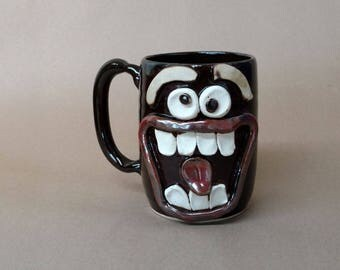Large Black Coffee Cup. Extremely Happy Big Smiley Face Ug Chug 20 Oz Coffee Cup. Ceramic Beer Mug. Unique Man Husband Father Boyfriend Gift