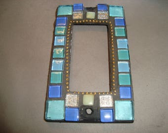 MOSAIC Outlet Cover or Switch Plate, GFI Decora, Wall Plate, Wall Art,  Shades of Blue, silver and White with Gold Chain