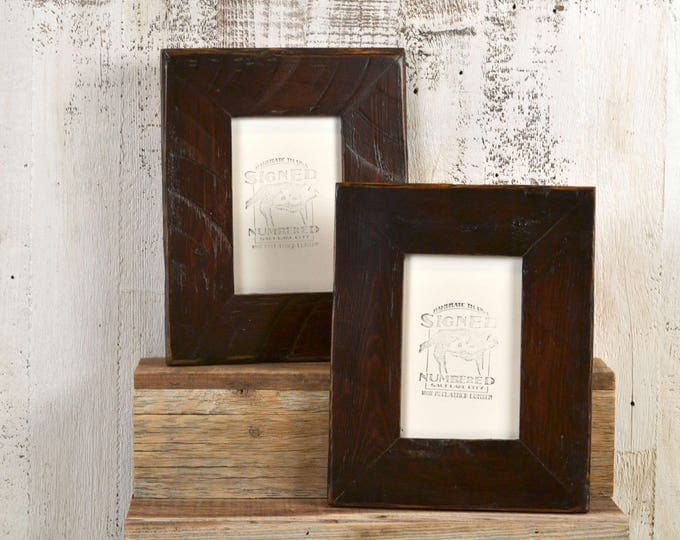 """4x6 Picture Frame 2.25"""" Reclaimed Pine with Vintage Dark Wood Tone Finish - IN STOCK - Same Day Shipping - 4 x 6 Brown Rustic Frame"""