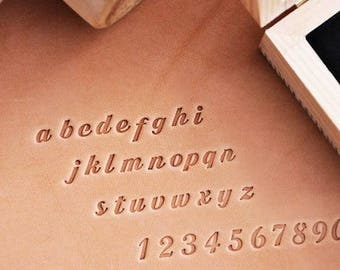 Bold Hand Writing Small Letters & Numbers Leather Stamp Gift Set|Alphabet Stamp Emboss Engraving Stamping LeatherDIY Leathercraft DIYkit