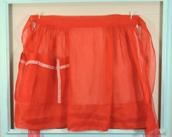 Red Vintage Apron / Red Christmas Apron / Red Organza Apron