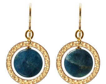 Blue Apatite Earrings - 35mm length - lagoon blue and gold - ring hoop circle blue gemstone - gold filled earwires