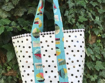 Small retro oilcloth tote bag for children and adults in black polka dots