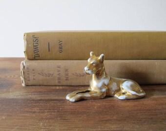 Vintage Dog Figurine Porcelain and Gold
