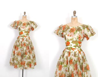 Vintage 1950s Dress / 50s Floral Print Party Dress / Orange and Green ( small S )