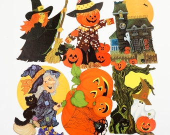 vintage 1970s halloween decorations set of 9 assorted wall hangings 12 pumpkin haunted house - Etsy Halloween Decorations