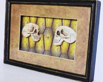 Gothic Home Decor - Skull Wall Art - Skulls and Coffins - Framed Gothic Wall Art - Upcycled Shadow Box Framed Art