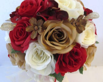 Wedding Bouquet 17 Piece Package Bridal Bouquets Silk Flower RED CHAMPAGNE GOLD Artificial Set