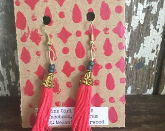 Tassel earrings, pink, gold and teal, perfect for summer, summer earrings, trendy