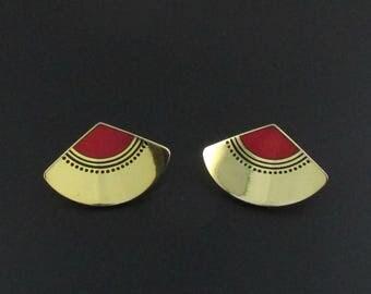 Laurel Burch Earrings, Laurel Burch Fuji Fan Earrings, Red Earrings, Gold Earrings, Fan Earrings