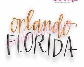 Orlando Florida -   -  Digital Machine Embroidery File -Instant Download