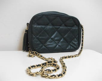 Green Leather Quilted 80s Giani Bernini Chain Strap Crossbody Purse