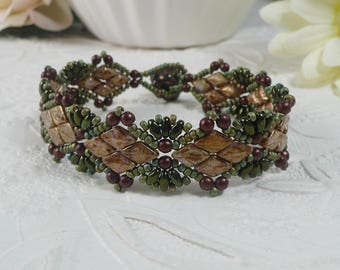 Woven Bracelet Brown and Green Earth Tones with DiamonDuos Gifts for Her