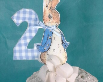 Shabby Chic Peter Rabbit cake topper, two fabric Peter Rabbit 2nd birthday party decoration G254