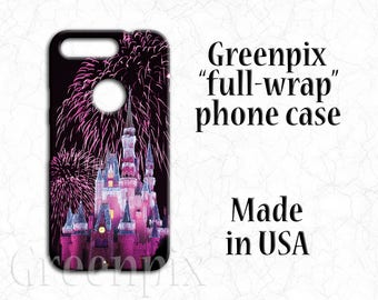 Disney Google Pixel phone case, Pixel XL phone case, Cinderalla Castle phone case, fireworks phone case, pink phone case, Disneyworld photo