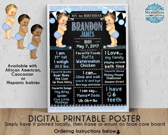 digital birthday poster 8x10 11 x14 16x20 18x24 bow ties theme