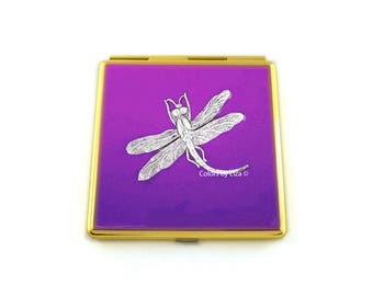 Dragonfly Compact Mirror Inlaid in Hand Painted Enamel Orchid Purple Opaque with Color and Personalized Option