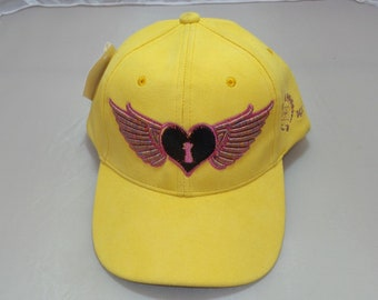 Adjustable-back Bent-Brim Hat - Heart Wings (One-of-a-kind)