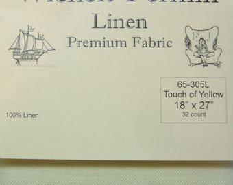 "Wichelt Permin 100% Linen Touch of Yellow 32 Ct 18"" x 27"" Cross Stitch Fabric"