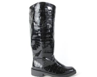 25% off Summer SALE 40 Percent OFF SALE Vintage 90s Rain Boots Black Patent Shiny Embossed Croc Riding Boots Pull On Knee High Boots Fleece