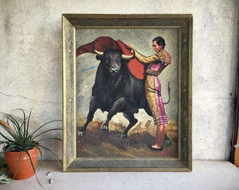 Framed Black Velvet Bullfighter Painting, Midcentury Decor, 1960s Velvet Art