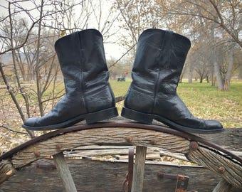 Lucchese Cowboy Boots Men's Size 11 D Black Ostrich Skin Roper Boots