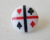 Vintage Buttons / Lot of 7 Matching Buttons / Playing Cards Buttons