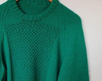 vintage handknitted jumper in emerald green