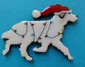 Great Pyrenees Christmas Pin, Magnet or Ornament -Free Shipping -Hand Painted- Free Personalization Available