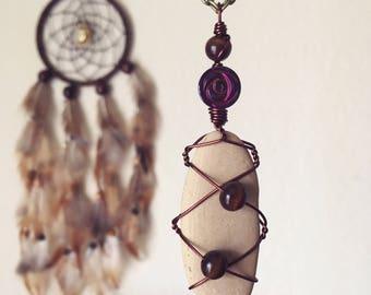 Beach Goddess Wire Wrapped Beach Stone Necklace