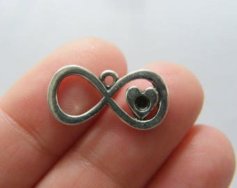 8 Infinity heart charms antique silver tone I144