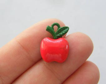 BULK 20 Apple charms red and green tone FD157
