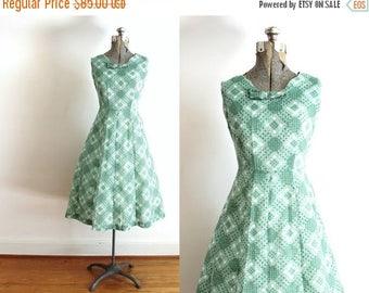 ON SALE 1950s Dress / 50s Sage Green Basketweave Plaid Dress
