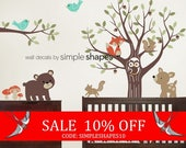 Summer Sale - Tree with Forest Friends Decal Set - Kid's Nursery Room Wall Sticker