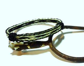 Horsehair Adjustable Bracelet - Black & White Triple Braid Reversable