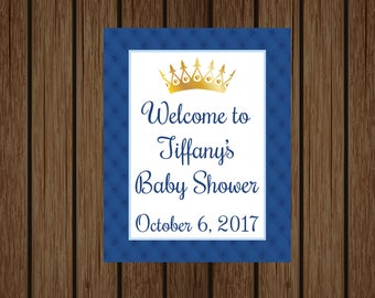 Baby Shower Welcome Sign, Prince Baby Shower, Prince Welcome Door Sign, Prince Blue and Gold Sign