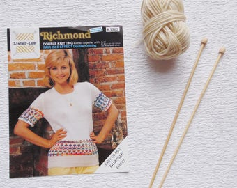 Vintage 1980s Knitting Pattern, Lister Lee Handknitting Pattern K1782 size 32-42in (81-107cm), Knitting, Sweater with Fair Isle Effect