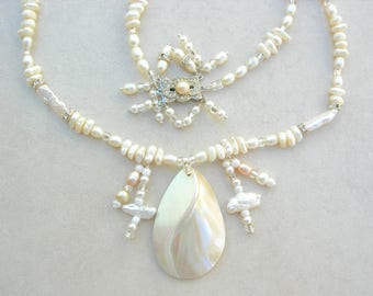 Nautilus Shell Pendant, Pearls & Rhinestones, Antique Majorca Clasp, Pearl Earrings, Sea Treasures Collection,Long Necklace by SandraDesigns